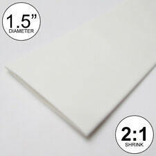 """1.5"""" ID White Heat Shrink Tube 2:1 ratio (8 inches) polyolefin foot/ft/to 40mm"""