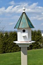 """Birdhouse Patina Copper roof 24"""" inches Tall Amish handmade woodpecker house"""