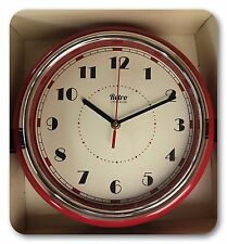 Retro 50's Metal Diner Wall Clock Chrome Surround 28cm Diameter Red - NEW