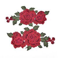 1Pair Embroidery Rose Flower Sew On Patch Badge Bag Jeans Dress Applique Craf Kn