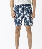 MENS size XL Navy Blue MARBLE  ZXZANEROBE elastic waist VOLLEY  SHORTS  NEW