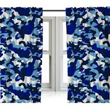 "BLUE CAMOUFLAGE READYMADE CURTAINS 72"" DROP ARMY CAMO KIDS BEDROOM"