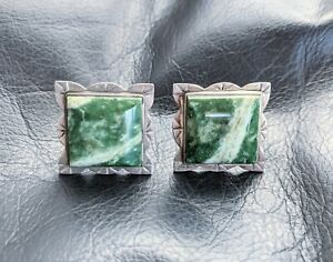 Sterling Silver Green Snowflake Agate Square Cufflinks 1900s EM Weinberg Co