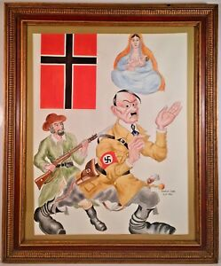 Listed Artist Arthur Szyk (1894-1951) Signed Mixed Media Propaganda Painting