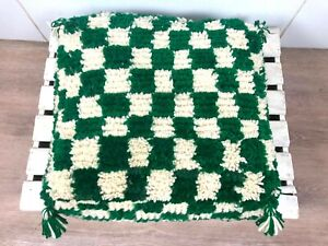Moroccan checkered pouf, checkerboard square floor cushion, Berber Ottomans