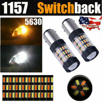 1157 Switchback LED Turn Signal Light Bulb 5630 6000K White/Amber Plug&Play 1Set