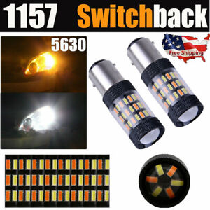 1157 Switchback LED Turn Signal Light Bulb Dual Color 5630 6000K White/Amber 2PC
