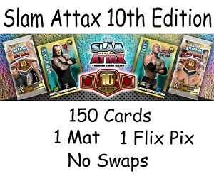 Topps WWE Slam Attax 10th Edition 150 cards + 1 Mat Relic + Flix Pix NO SWAPS