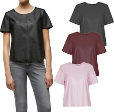 NEW Women Faux Leather Top Short Sleeves Scoop Neck Black Blouse Shirt  8-14 UK