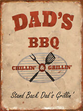 """Dad's BBQ, Retro metal Sign/Plaque, Gift, Home 10"""" x 8"""" Large"""