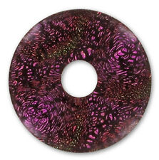 ONE HAND MADE DICHROIC GLASS DONUT FOCAL PENDANT BEAD, AMETHYST / BLACK, 22 MM