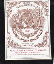 PAUILLAC 2EGCC ETIQUETTE CHATEAU PICHON LONGUEVILLE BARON 1998 §16/03/18§