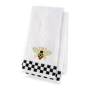Mackenzie Childs QUEEN BEE w/ Courtly Check HAND TOWELS(Set of 2) NEW m20-de