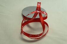 Ruban Satin Imprimé Rouge Coeur Blanc 10mm imprime CŒUR Blanc