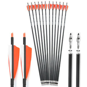 """6/12 Archery Carbon Arrows 31"""" SP500 Feathers Tips Recurve Compound Bow Hunting"""