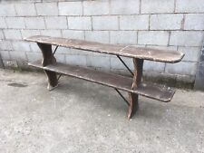 Pair Antique rustic Pine garden, kitchen, Bench, seating old farmhouse 8ft.