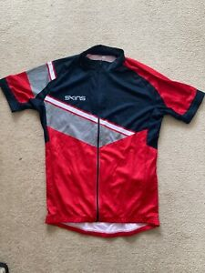 Skins Mens Red & Black Cycling Full Zip Jersey/Top With Bottle Holders-BNWT