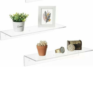 "Set of Acrylic Floating Wall Ledge Shelf 12"" Clear Shelves"