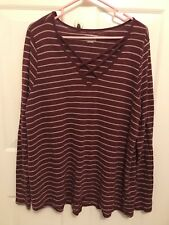 Lane Bryant Knit Top Size 18/20 Womens Burgundy Strappy V Neck Tee Criss Cross