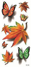 Leaf Butterfly Waterproof Temporary Tattoo Lady Boy Girl Halloween Party Costume