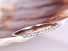 Diamond Ring 0.35 Carat Round French Pave Full Eternity Wedding 18K White Gold