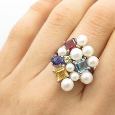 925 Sterling Silver Real Pearl Multicolor Gemstone Large Ring Size 7 1/4