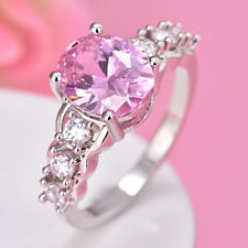 Unique Natural Handmade Sweet Pink Topaz Zircon Gemstone Silver Ring Size 6-9