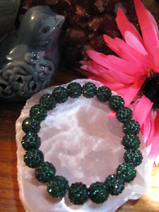 "New 8"" Rustic Emerald Green Crystal Ball 10mm Cuff Bracelet--Stocking Stuffer"