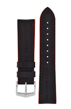 22mm Hirsch Andy Alligator Embossed Performance Watch Strap in Black / Red
