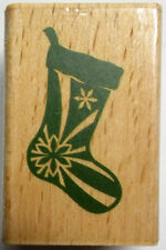Christmas Stocking  Wood-mounted  Rubber Stamp  2 x 1-1/4 Inches  New