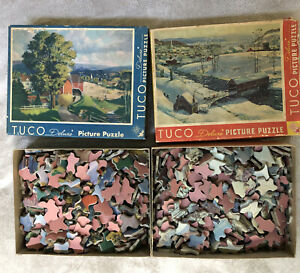 2 Vintage Tuco Puzzles Covered Bridge & The American Way Both Complete