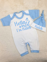 Hola mundo estoy Nombre Personalizado Babygrow y Sombrero conjunto hospital Outfit Nuevo Bebé