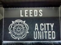 LEEDS (& YORKSHIRE WHITE ROSE) A CITY UNITED White Sign Light Advertisement Neon