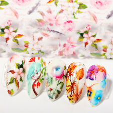 10PCS Flowers Colorful Nail Foils Nail Art Transfer Stickers Paper Nail Art Set