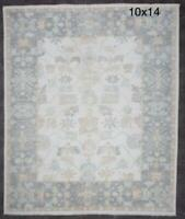 10x14  Handknotted Oushak Wool Rug Color Gray,Tan,Ivory, Blue,Green 1/2' pile