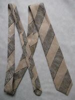 Vintage TOOTAL Tie Mens Necktie Retro 1980s Fashion STRIPED BROWN CREAM TEXTURED