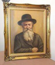vintage original Joseph Rut Jewish Rabbi Judaica oil painting on canvas portrait