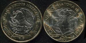 Mexico 20 Pesos. 2014 (Bi-Metallic. Coin KM#979. Unc) Taking of Zacatecas