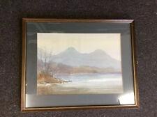 Original E GRIEG HALL Painting DerwentWater catbells LakeDistrict Watercolour dh