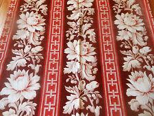 Antique 19thc French Floral Greek Key Stripe Cotton Fabric ~ Madder Red Burgundy