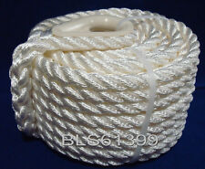 "(1) White Twisted 3/8"" in x 50' ft Boat Marine ANCHOR LINE Dock Mooring Rope"