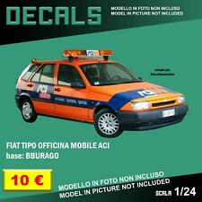 DECALS repro Fiat Tipo Assistenza officina ACI orange Bburago Burago 1/24 1 24