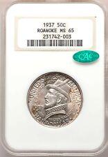 1937 Roanoke NC NGC + CAC MS65 Old Thick Holder Commem Half Dollar Commemorative
