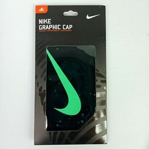 NEW Nike Graphic Swim Cap Unisex Black/Green Swoosh Silicone Training One Size