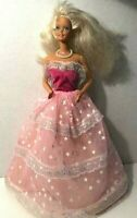 Vintage 1966 China Blonde Hair Barbie Glow 'N The Dark Pink Gown  B37