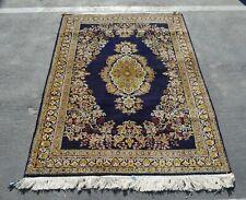 Vintage 1970s Never Used Handmade Oriental Rug 100% Silk Navy Blue 6' x 3'7''