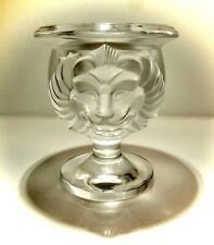 New listing Signed Lalique France Lead Crystal Glass Double Embossed Lion Face Vase / Holder