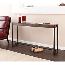 JST11599 METAL & WOOD BLACK / BURNT OAK CONSOLE TABLE