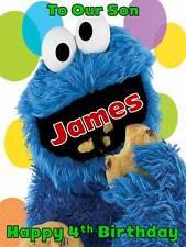Personalised Cookie Monster Birthday Greeting Card with Envelope 294