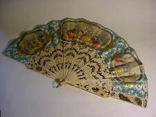 19th C. FRENCH BONE & PAPER FAN w/Gilded Silver Inlaid